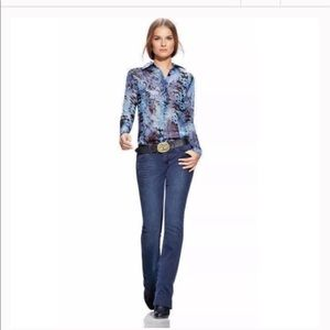 CAbi #609 Python Snake Blue Top Blouse ExtraSmall